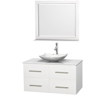 "Centra 42"" Single Bathroom Vanity for Vessel Sink by Wyndham Collection, Matte White WC-WHE009-42-SGL-VAN-WHT_ by Wyndham Collection®"