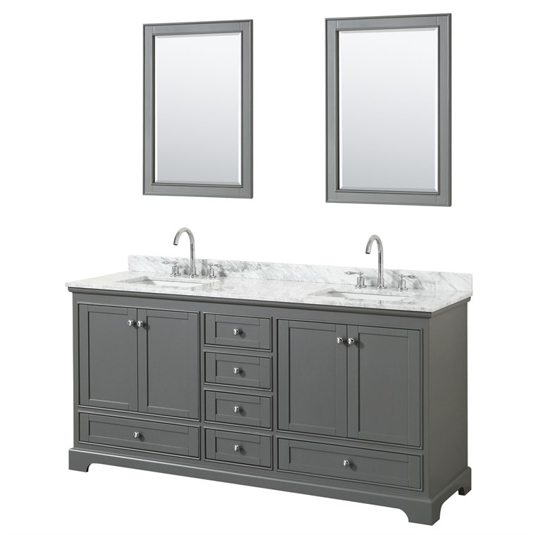 "Deborah 72"" Double Bathroom Vanity in Dark Gray WC-2020-72-DBL-VAN-DKG"