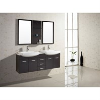 "Virtu USA Ophelia 59"" Double Sink Bathroom Vanity - Espresso UM-3059-S-ES"
