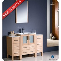 "Fresca Torino 48"" Light Oak Modern Bathroom Vanity with 2 Side Cabinets & Integrated Sink FVN62-122412LO-UNS"