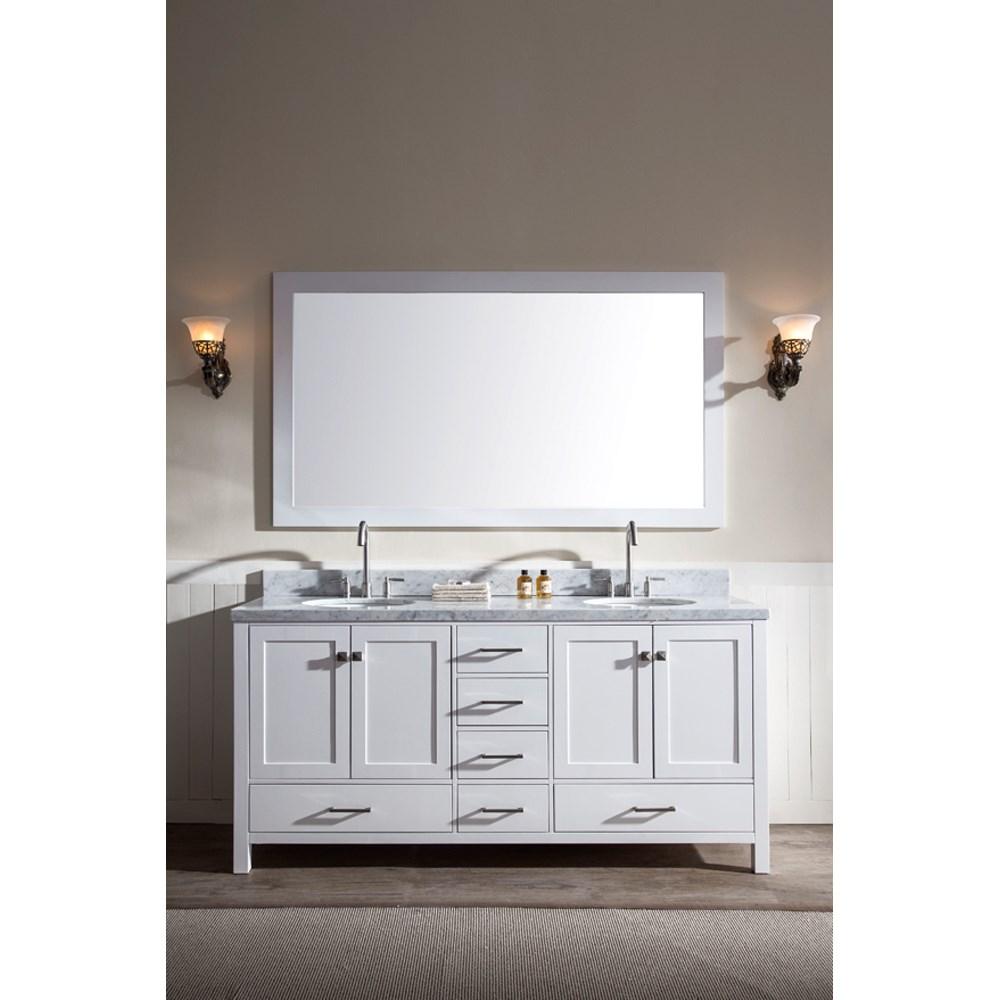 "Ariel Cambridge 73"" Double Sink Vanity Set with Carrera White Marble Countertop - Whitenohtin Sale $1899.00 SKU: A073D-WHT :"