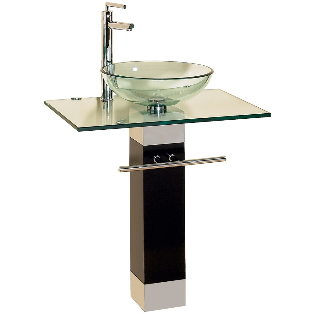 23 Bathroom Vanities Tempered Glass Vessel Sinks Combo Pedestal Wood Base