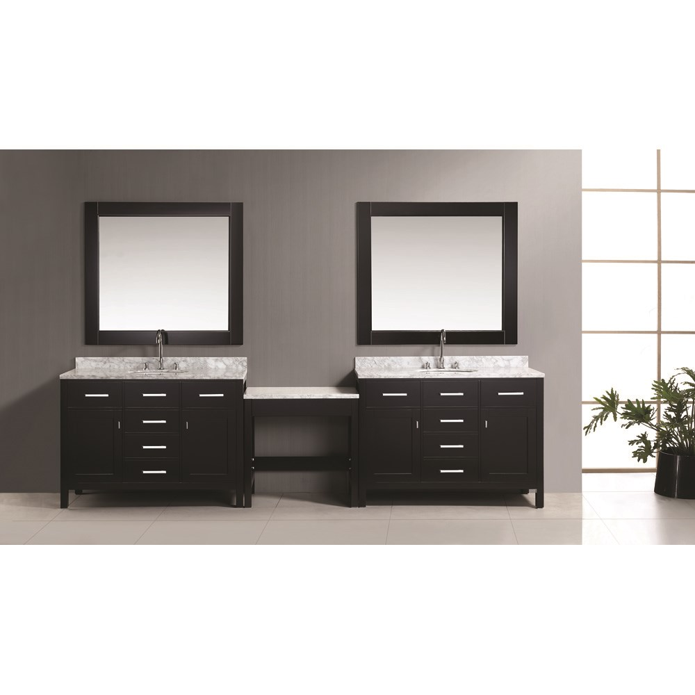 "Design Element London Two 48"" Vanities with a Make-up Table - Espresso DEC076CX2_MUT"