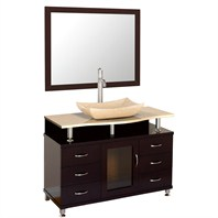 "Accara 42"" Bathroom Vanity with Drawers - Espresso w/ Ivory Marble Counter B706D-42-ESP-IVO"