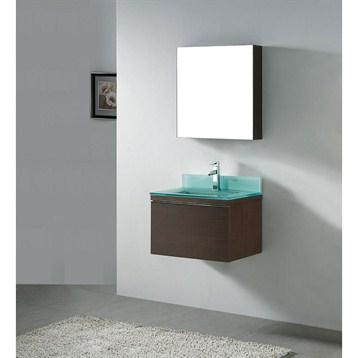 """Madeli Venasca 24"""" Bathroom Vanity with Glass Basin, Walnut B990-24-002-WA-GLASS by Madeli"""