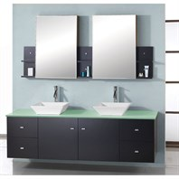 "Virtu USA Clarissa 61"" Double Sink Bathroom Vanity - Espresso MD-435"