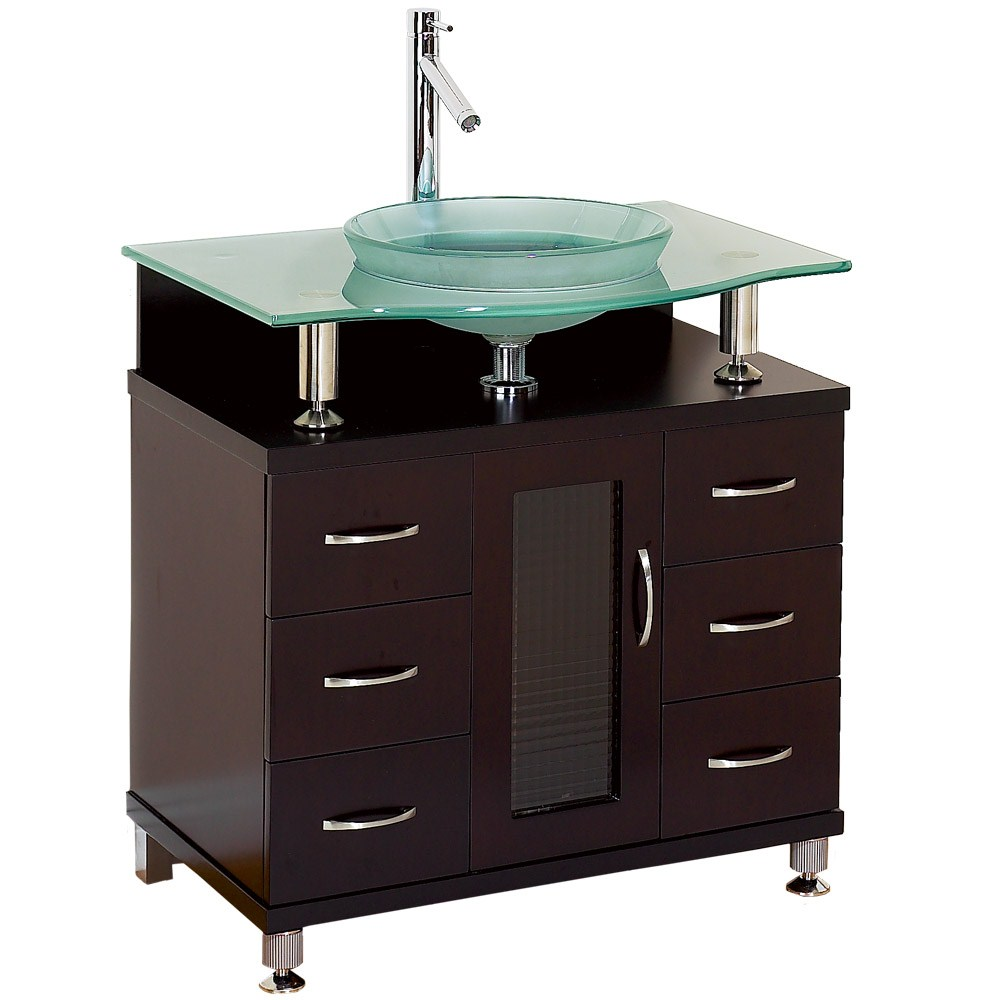 "Charlton 30"" Bathroom Vanity with Drawers - Espresso w/ Clear or Frosted Glass Counternohtin"