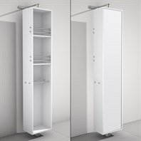 April Rotating Floor Cabinet with Mirror by Wyndham Collection - Matte White WC-V202-WHT