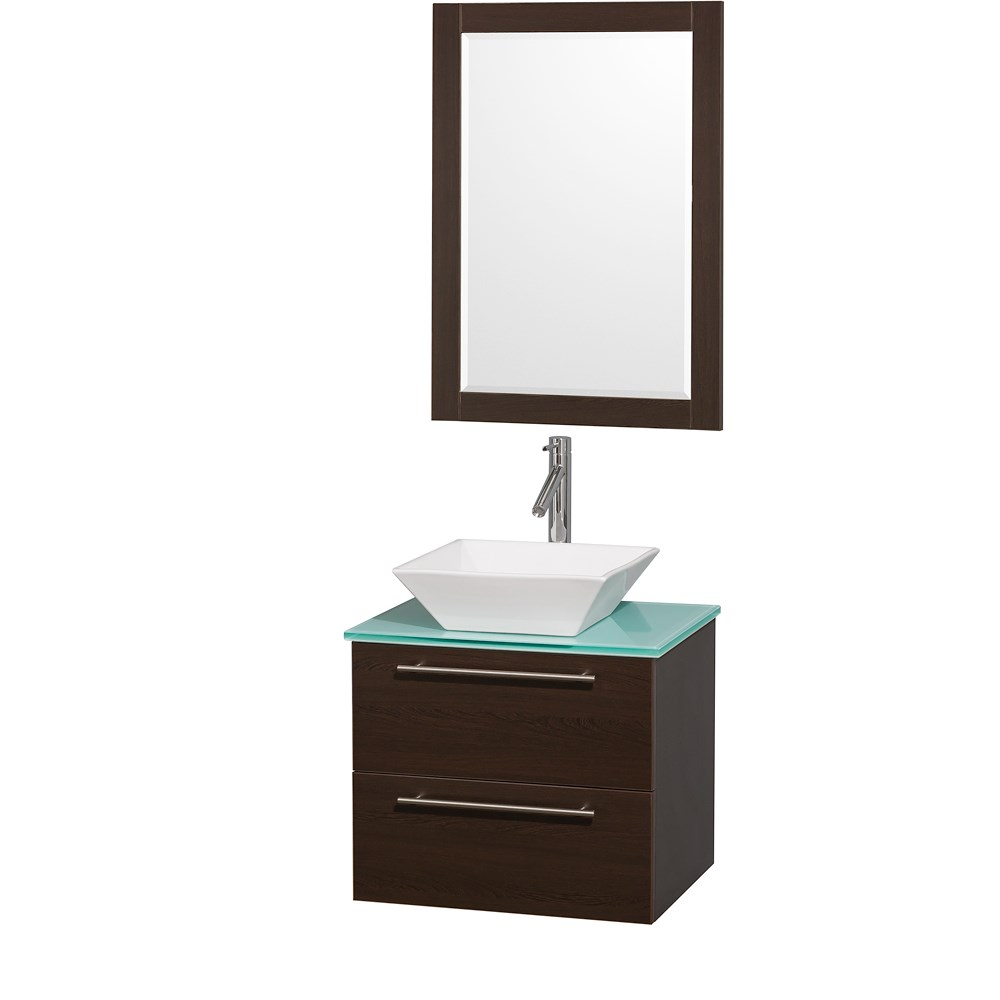 "Amare 24"" Wall-Mounted Bathroom Vanity Set with Vessel Sink by Wyndham Collection - Espressonohtin Sale $799.00 SKU: WC-R4100-24-ESP- :"