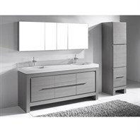 "Madeli Vicenza 72"" Double Bathroom Vanity For Quartzstone Top - Ash Grey B999-72-001-AG-QUARTZ"