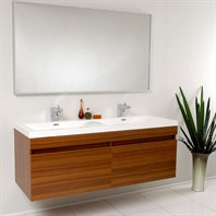 Fresca Largo Teak Modern Bathroom Vanity with Wavy Double Sinks with Mirror FVN8040TK