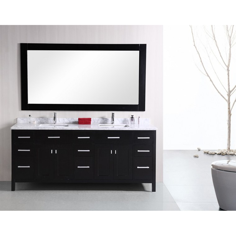 "Design Element London 78"" Modern Double Bathroom Vanity with White Carrera Countertop, Sinks and Mirror - Espresso DEC088"