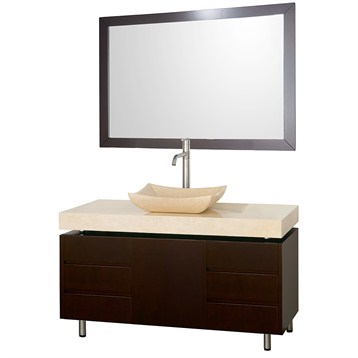 """Malibu 48"""" Bathroom Vanity Set by Wyndham Collection, Espresso Finish with Ivory Marble Counter... by Wyndham Collection®"""