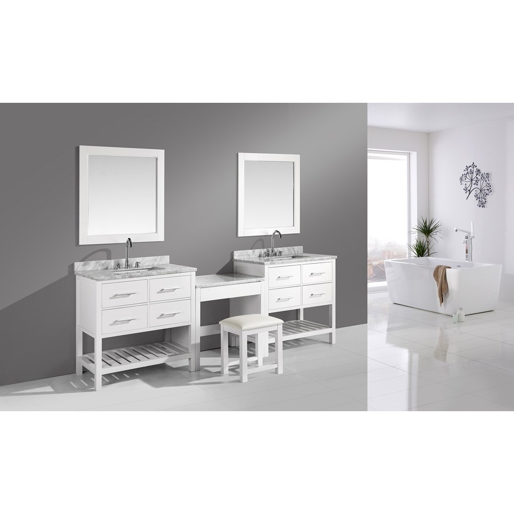 """Design Element London Two 36"""" Vanities with Open Bottom and Make-up Table - Whitenohtin Sale $2599.00 SKU: DEC077A-WX2_MUT-W :"""