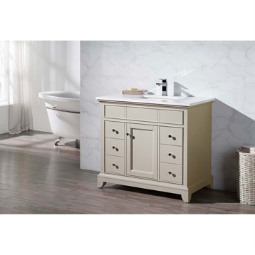 "Stufurhome Erin 37"" Single Sink Bathroom Vanity with White Quartz Top, Beige HD-6004-37-QZ by Stufurhome"