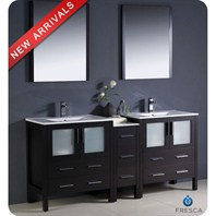 "Fresca Torino 72"" Espresso Modern Double Sink Bathroom Vanity with Side Cabinet, Integrated Sinks, and Mirrors FVN62-301230ES-UNS"