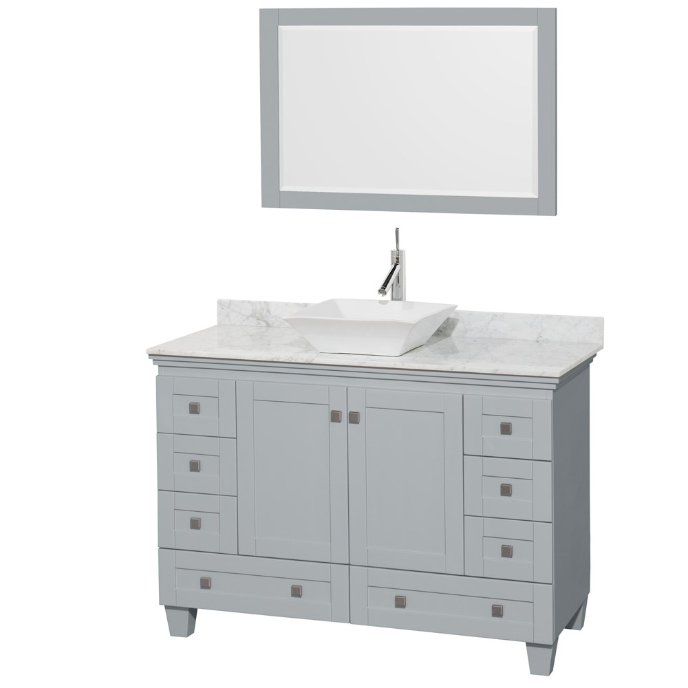"Acclaim 48"" Single Bathroom Vanity for Vessel Sink by Wyndham Collection - Oyster Graynohtin Sale $999.00 SKU: WC-CG8000-48-SGL-VAN-OYS :"