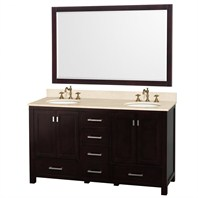 "Abingdon 60"" Double Bathroom Vanity Set by Wyndham Collection - Espresso WC-1515-60-ESP-DBL"