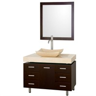 "Malibu 36"" Single Bathroom Vanity Set by Wyndham Collection - Espresso Finish with Ivory Marble Counter, and Handles WC-CG3000H-36-ESP-IVO"