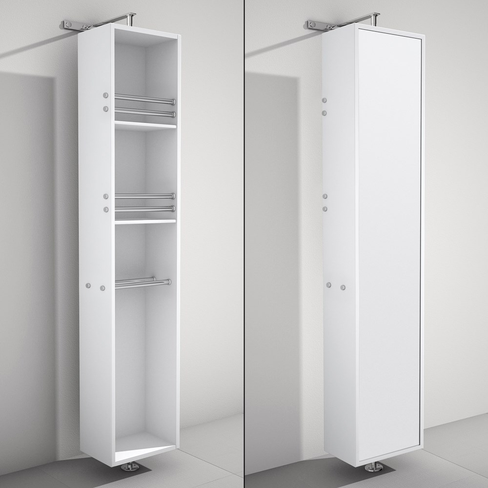 April Rotating Floor Cabinet with Mirror by Wyndham Collection - Matte Whitenohtin Sale $699.00 SKU: WC-V202-WHT :