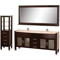 "Daytona 71"" Double Bathroom Vanity Set by Wyndham Collection - Espresso w/ Drawers & Cabinet WC-A-W2200-71-ESP-SET"