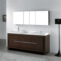 "Madeli Vicenza 72"" Double Bathroom Vanity - Walnut Vicenza-72-WA"