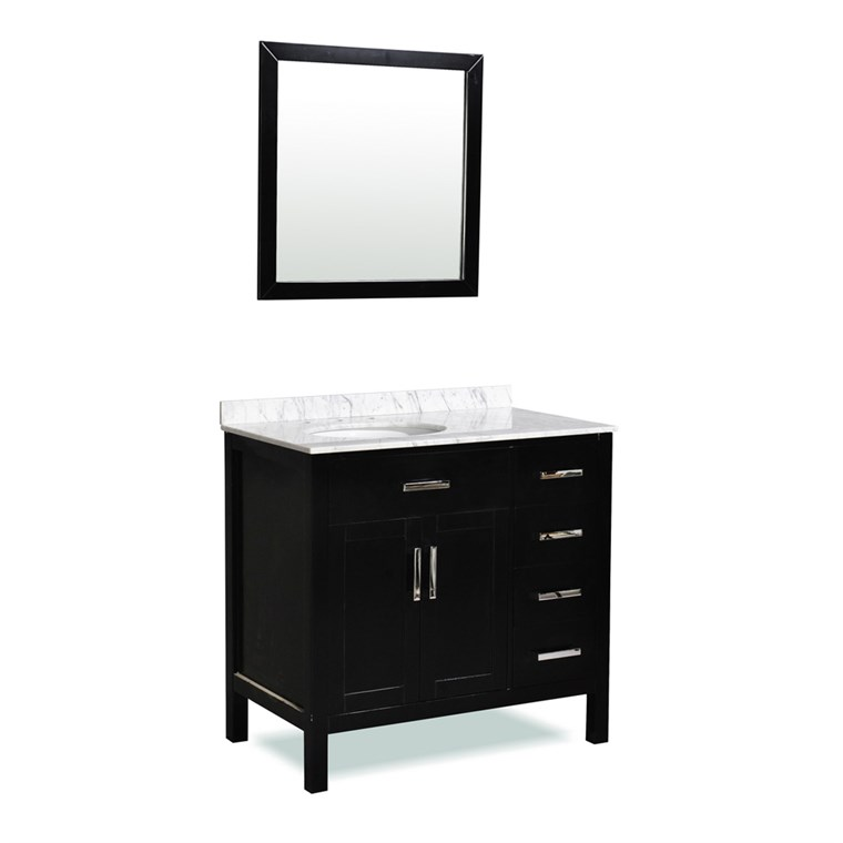 "Belmont decor Ashland 36"" Single Sink Vanity Set with Carrera White Marble Countertop - Espresso ST10D4-36-BLK"