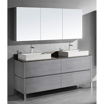 "Madeli Metro 72"" Double Bathroom Vanity for Glass Counter and Porcelain Basin, Ash Grey B600-72D-001-AG-GLASS by Madeli"