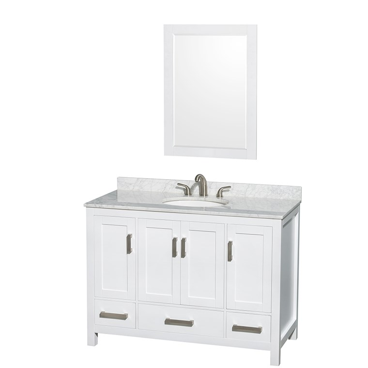 "Sheffield 48"" Single Bathroom Vanity by Wyndham Collection - White WC-1414-48-SGL-VAN-WHT"