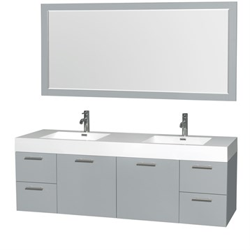 Amare WallMounted Double Bathroom Vanity Set With Integrated - Wall mount vanities for bathrooms