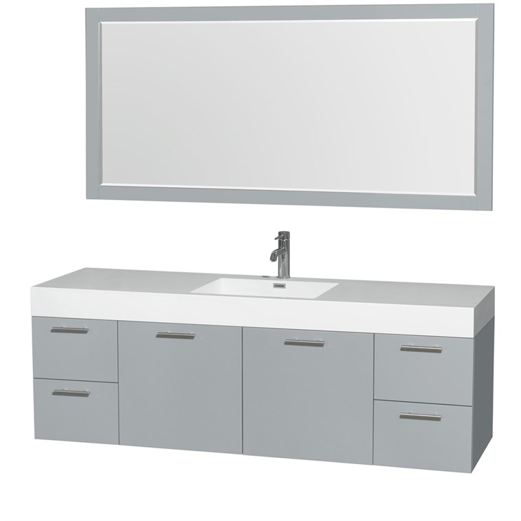 "Amare 72"" Wall-Mounted Single Bathroom Vanity Set with Integrated Sink by Wyndham Collection - Dove Gray WC-R4100-72-VAN-DVG-SGL"