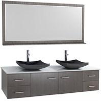 "Bianca 72"" Wall-Mounted Double Bathroom Vanity - Gray Oak WHE007-72-GROAK-"