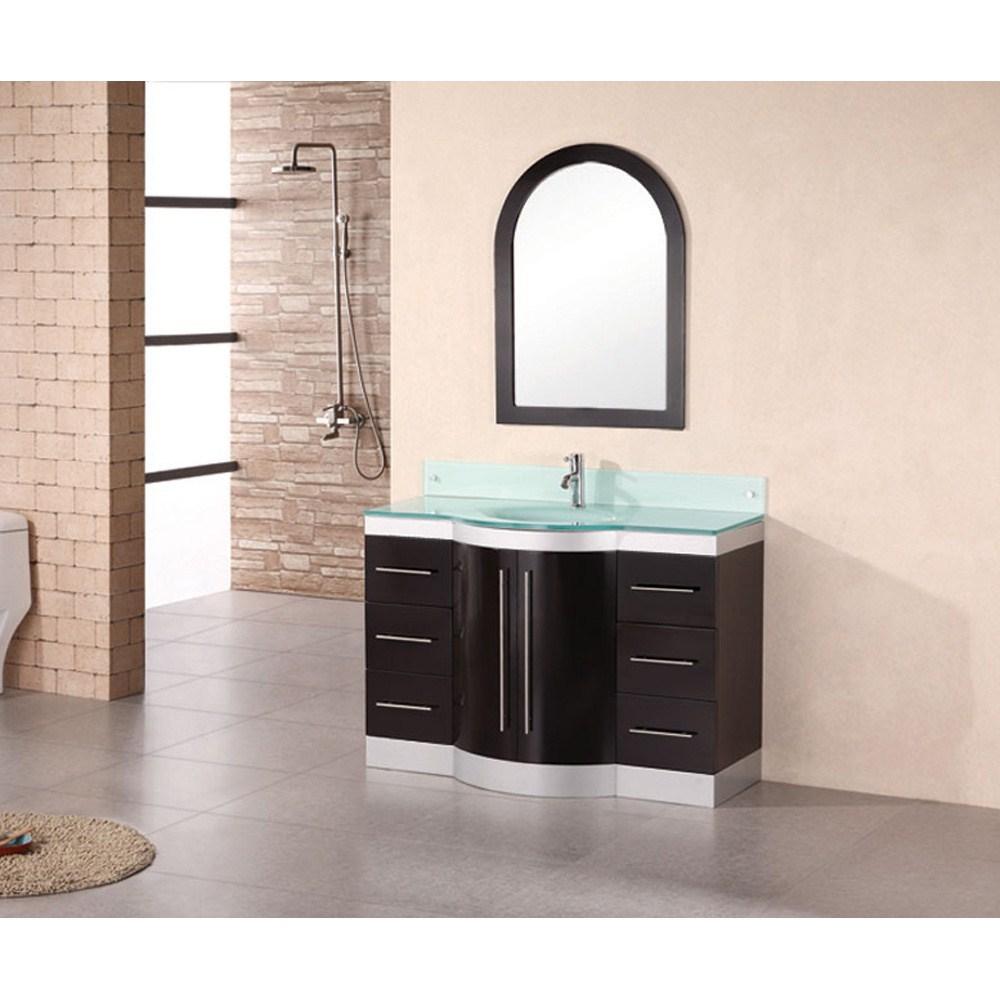 "Design Element Jade 48"" Single Sink Vanity Set w/ Tempered Glass Countertop - Espressonohtin Sale $1299.00 SKU: DEC024-GTP :"