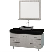 "Malibu 48"" Bathroom Vanity Set by Wyndham Collection - Gray Oak Finish with Black Absolute Granite Counter, Black Granite Sink, and Handles WC-CG3000H-48-GROAK-BLK-GR"