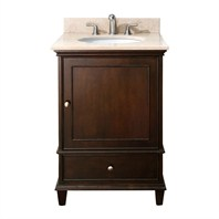 "Avanity Windsor 24"" Vanity Set with Galala Beige Marble Countertop with Sink - Walnut WINDSOR-VS24-WA"