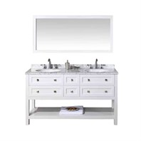 "Stufurhome Marla 60"" Double Sink Bathroom Vanity with Mirror - White HD-6868-60-CR"