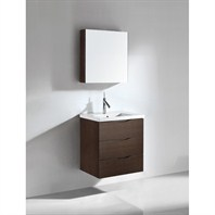 "Madeli Bolano 24"" Bathroom Vanity with Integrated Basin - Walnut Bolano-24-WA"