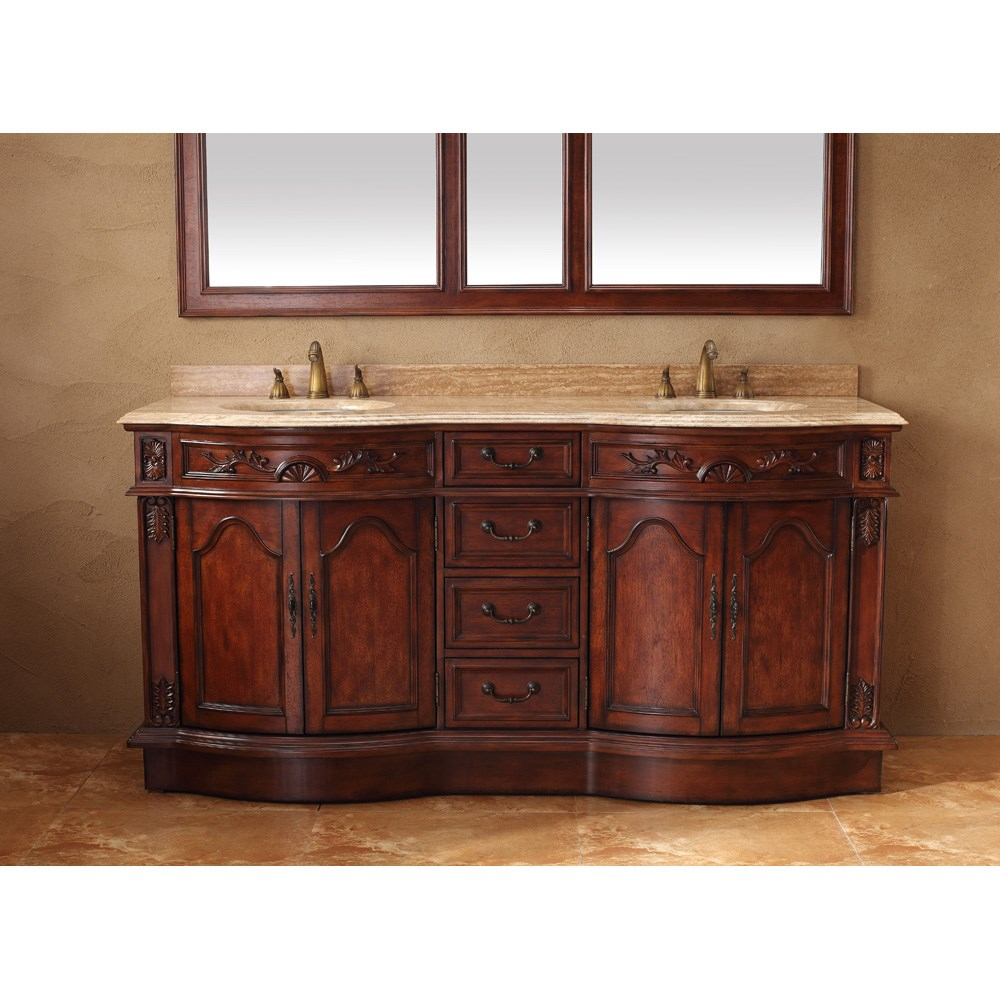 "James Martin 72"" Amalfi Double Travertine Top Vanity - Cherry 206-001-5513"