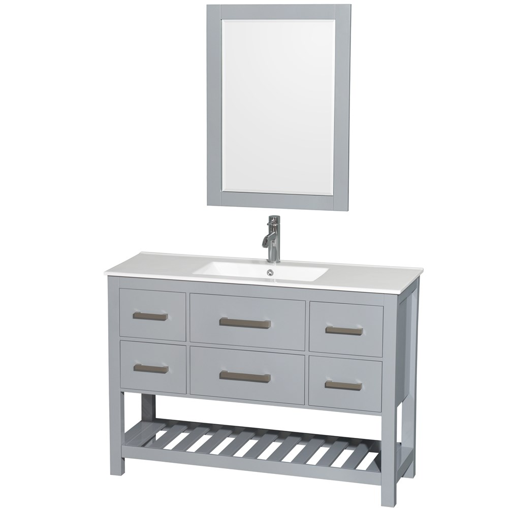 Natalie 48 in. Single Bathroom Vanity in Gray, White Porcelain Countertop, Integrated Sink, and 24 in. Mirror WCS211148SGYWPINTM24