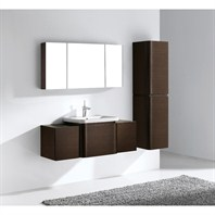 "Madeli Euro 50"" Bathroom Vanity with Integrated Basin - Walnut B930-24-002-WA, 2X-UC930-12-007-WA"
