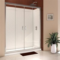 "Bath Authority DreamLine Butterfly Frameless Bi-Fold Shower Door, Single Threshold Shower Base and QWALL-5 Shower Backwalls Kit (30"" by 60"") DL-6120"