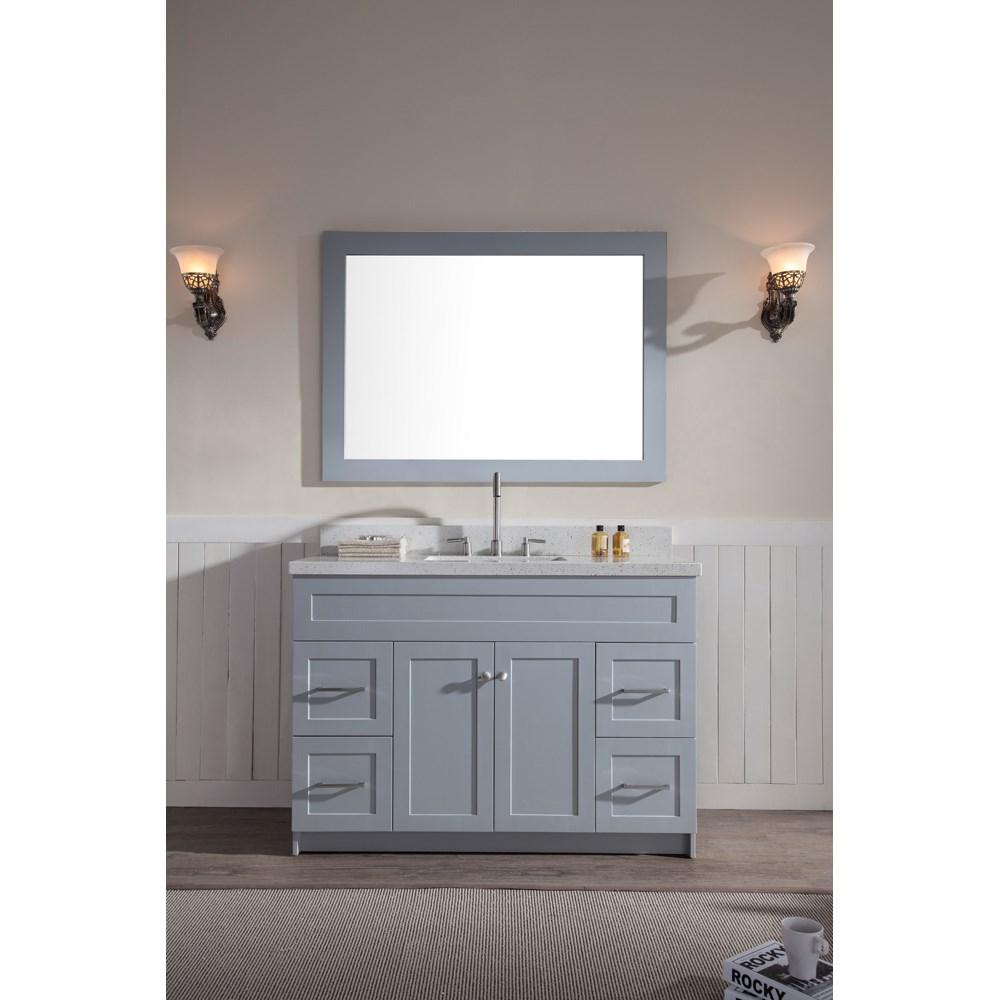 "Ariel Hamlet 49"" Single Sink Vanity Set with White Quartz Countertop in Greynohtin Sale $1299.00 SKU: F049S-WQ-GRY :"