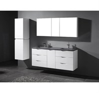 "Madeli Bolano 60"" Double Bathroom Vanity for Quartzstone Top - Glossy White B100-60-002-GW-"