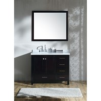 "Ariel Cambridge 43"" Single Sink Vanity Set with Left Offset Sink and Carrara White Marble Countertop - Espresso A043S-L-ESP"