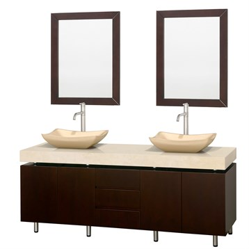 "Malibu 72"" Double Bathroom Vanity Set by Wyndham Collection, Espresso Finish with Ivory Marble Counter... by Wyndham Collection®"