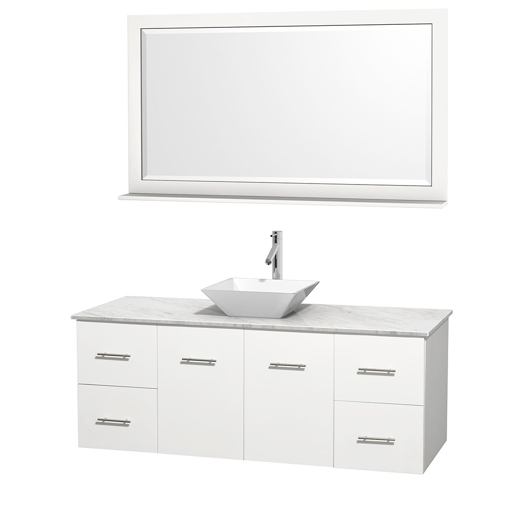 "Centra 60"" Single Bathroom Vanity for Vessel Sink by Wyndham Collection - Matte White WC-WHE009-60-SGL-VAN-WHT_"