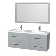 "Olivia 60"" Wall-Mounted Double Bathroom Vanity Set With Integrated Sinks by Wyndham Collection - Dove Gray WC-R4500-60-VAN-DVG"