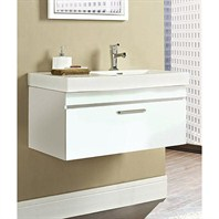"Fairmont Designs Metropolitan 36"" Wall Mount Vanity & Sink Set - High Gloss White 177-WV36R"