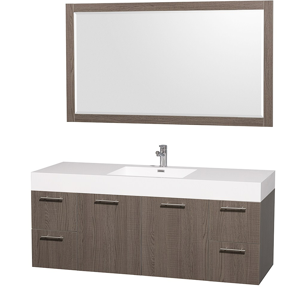 "Amare 60"" Wall-Mounted Single Bathroom Vanity Set with Integrated Sink by Wyndham Collection - Gray Oaknohtin Sale $1399.00 SKU: WC-R4100-60-VAN-GRO-SGL- :"
