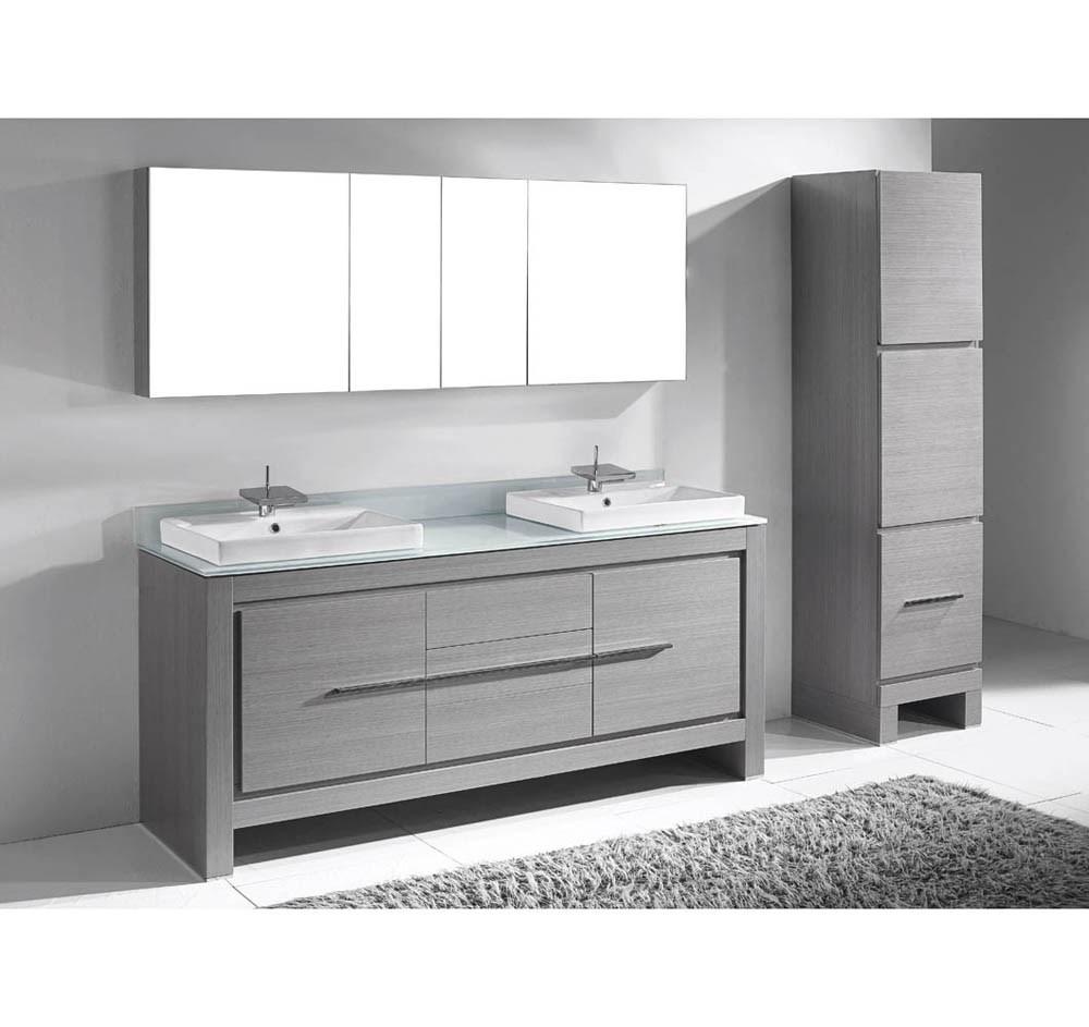 "Madeli Vicenza 72"" Double Bathroom Vanity for Glass Counter and Porcelain Basins - Ash Greynohtin"